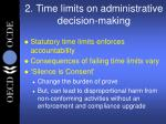 2 time limits on administrative decision making