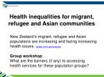 health inequalities for migrant refugee and asian communities