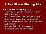 active site or binding site