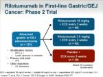 rilotumumab in first line gastric gej cancer phase 2 trial