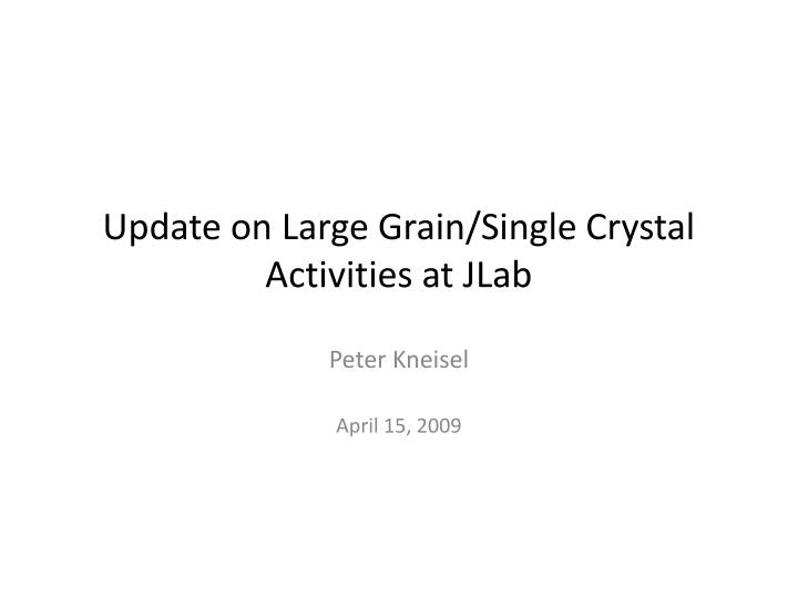 update on large grain single crystal activities at jlab n.