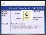periodic table set up 10 23 20087