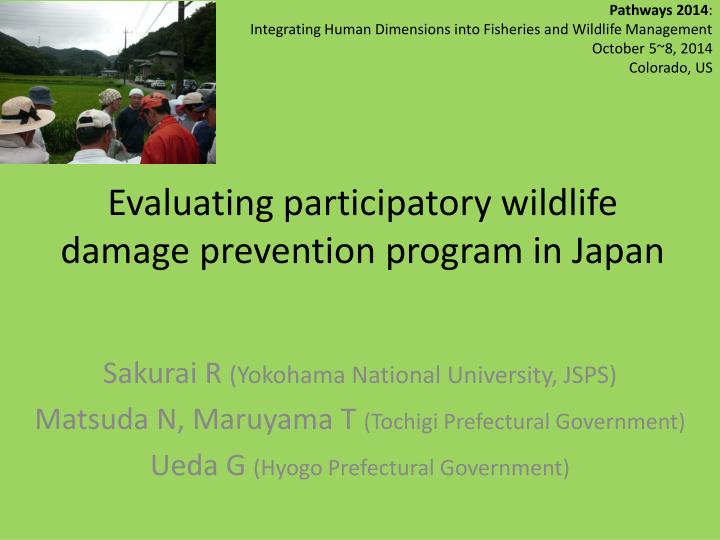 evaluating participatory wildlife damage prevention program in japan n.