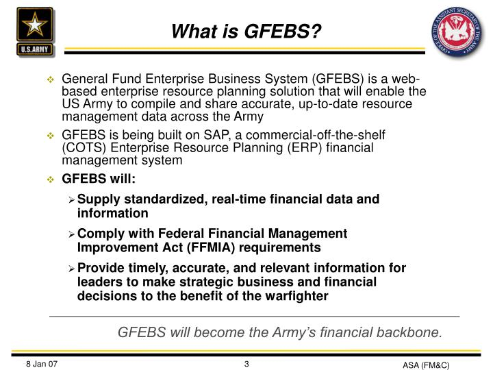 Ppt Army S General Fund Enterprise Business System Gfebs