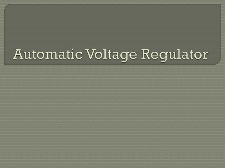 automatic voltage regulator n.