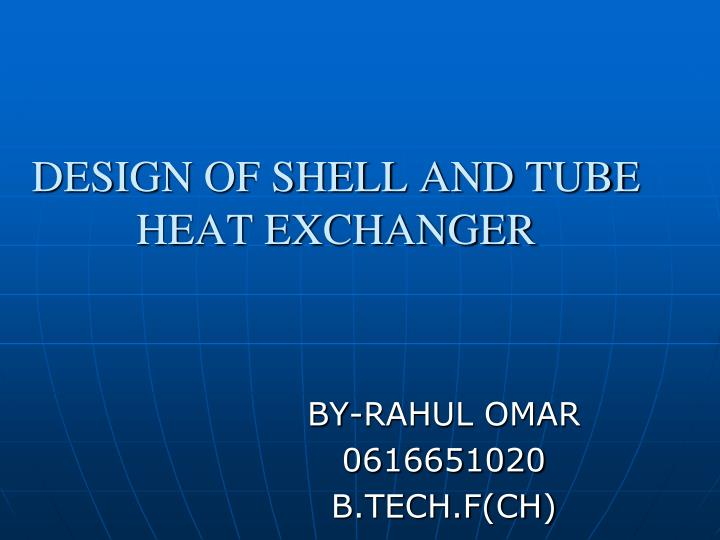 design of shell and tube heat exchanger n.