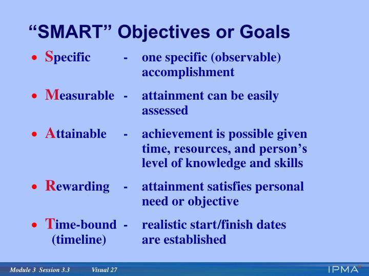 """SMART"" Objectives or Goals"