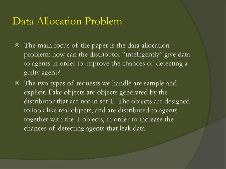 Data Allocation Problem