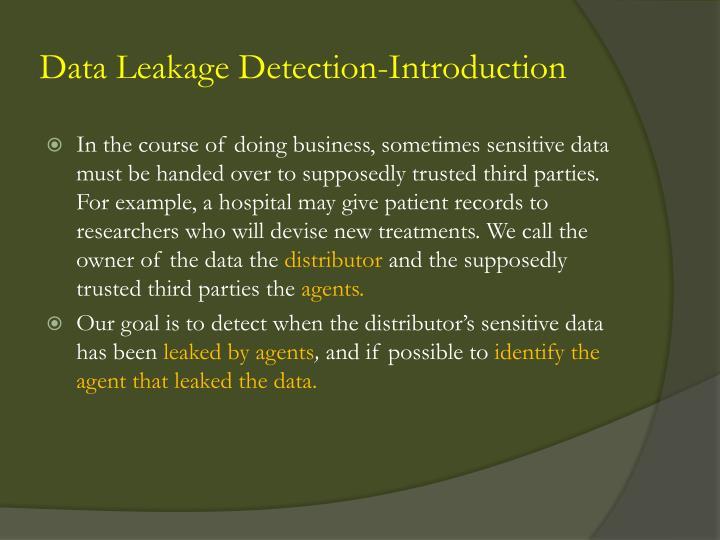 Data Leakage Detection-Introduction