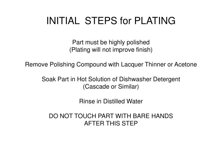 INITIAL  STEPS for PLATING