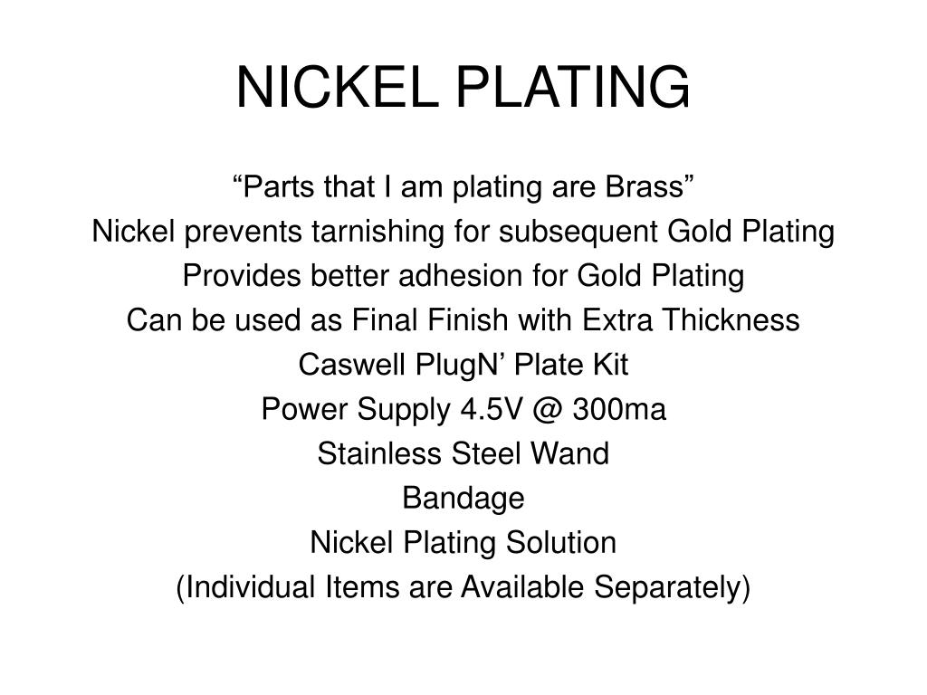 PPT - ELECTROPLATING in the HOME WORKSHOP PowerPoint Presentation