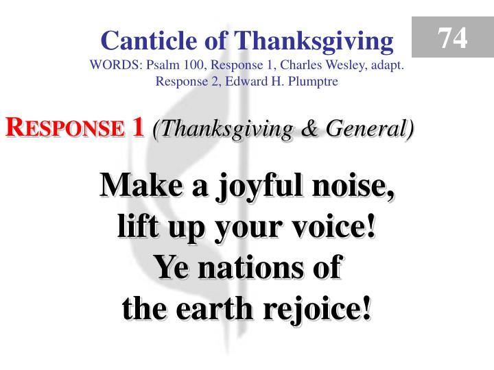 canticle of thanksgiving response 1 n.