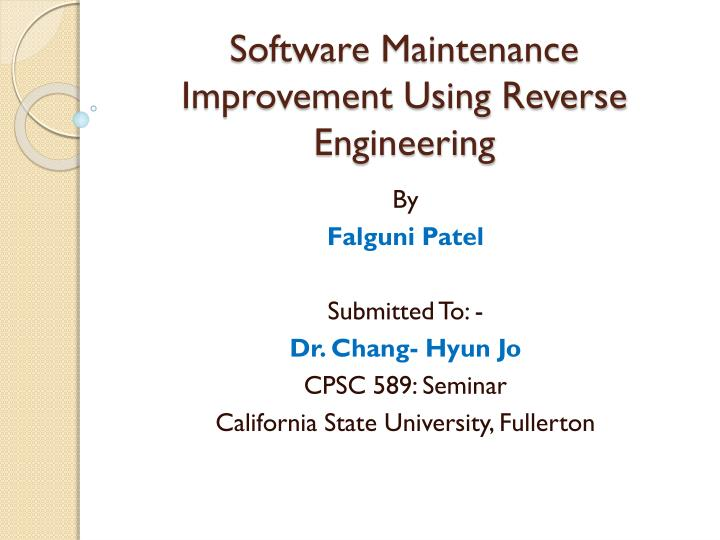 software maintenance improvement using reverse engineering n.