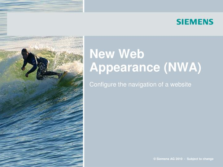 new web appearance nwa n.