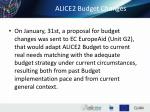 alice2 budget changes