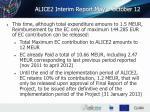alice2 interim report may october 12