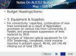 notes on alice2 budget spending may oct 12