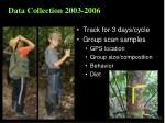 data collection 2003 2006