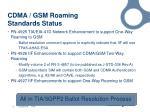 cdma gsm roaming standards status