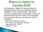 illness or injury to faculty staff2