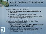area 1 excellence in teaching learning