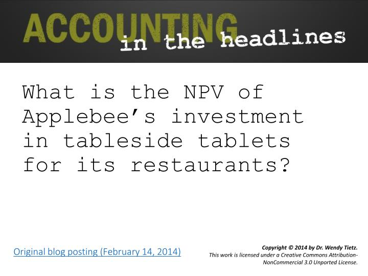 what is the npv of applebee s investment in tableside tablets for its restaurants n.
