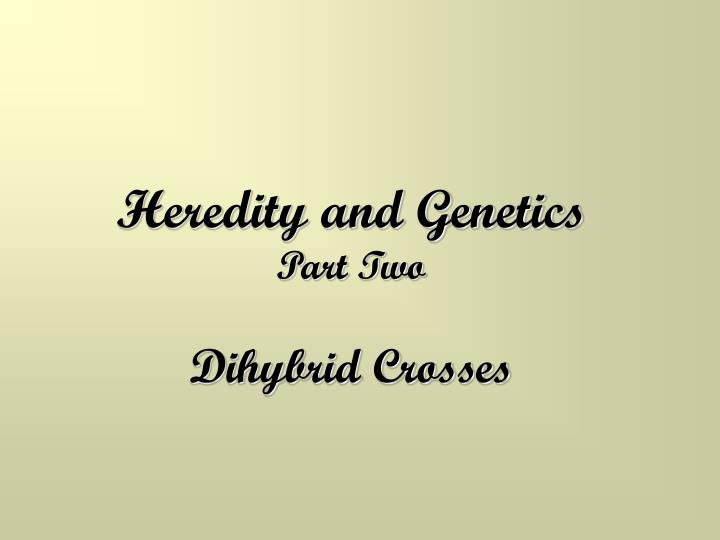 heredity and genetics part two dihybrid crosses n.