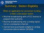 summary station eligibility