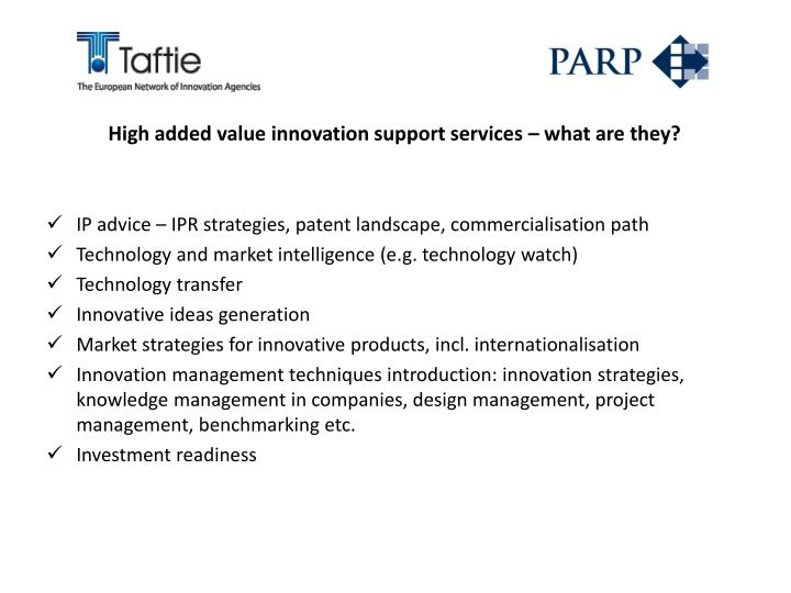 High added value innovation support services – what are they?