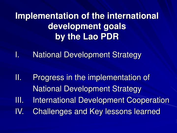 implementation of the international development goals by the lao pdr n.
