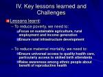 iv key lessons learned and challenges