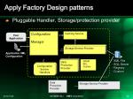 apply factory design patterns