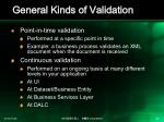 general kinds of validation