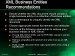 xml business entities recommendations