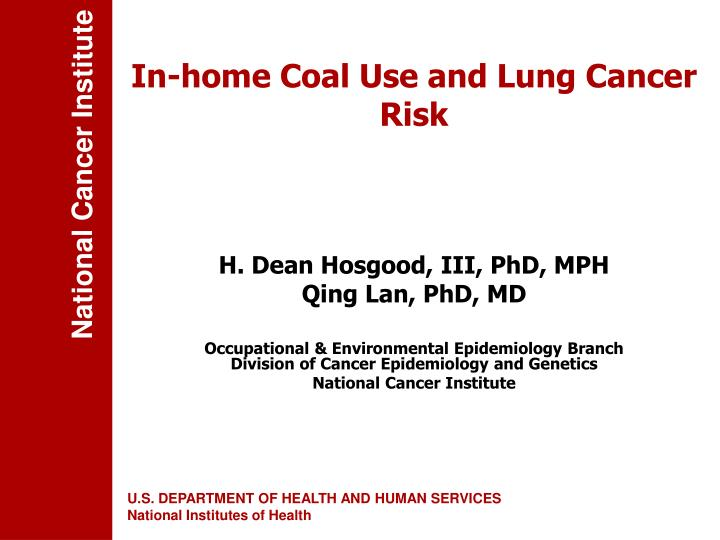 in home coal use and lung cancer risk n.