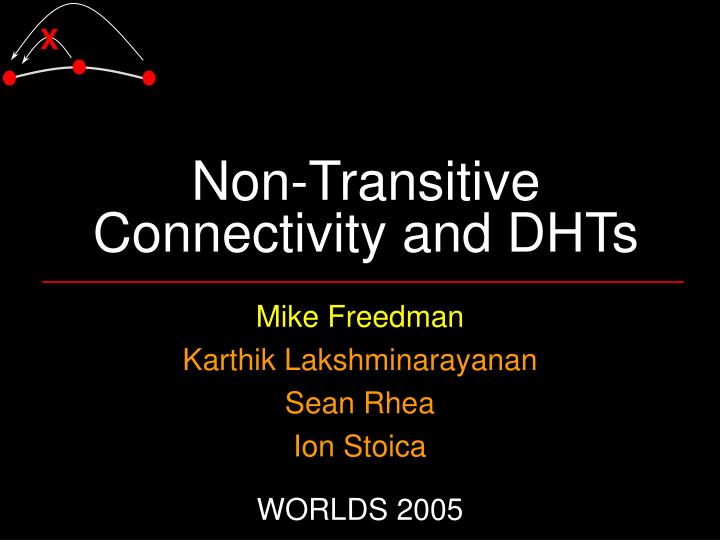 non transitive connectivity and dhts n.
