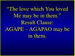 the love which you loved me may be in them result clause agape agapao may be in them