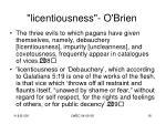 licentiousness o brien