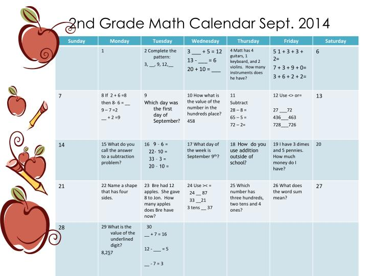 2nd grade math calendar sept 2014 n.
