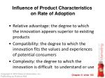 influence of product characteristics on rate of adoption