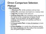 direct comparison selection method