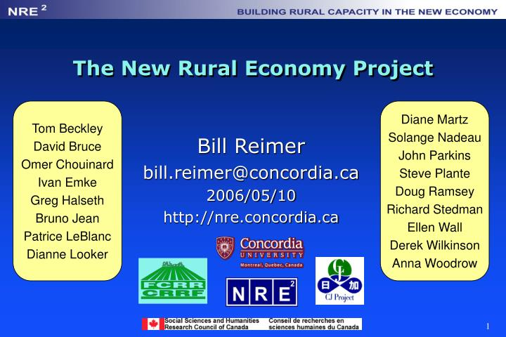 the new rural economy project n.