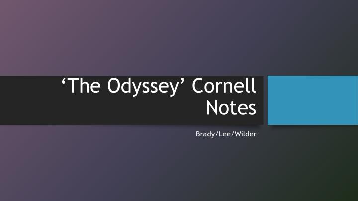 the odyssey cornell notes n.