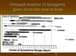 delayed reaction of bioagents gives terrorists time to hide