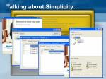 talking about simplicity