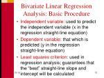 bivariate linear regression analysis basic procedure