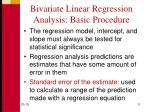 bivariate linear regression analysis basic procedure1