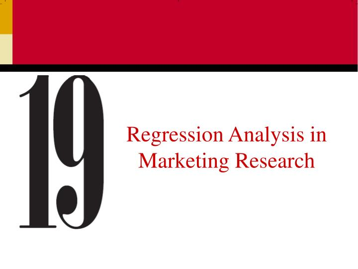 regression analysis in marketing research n.