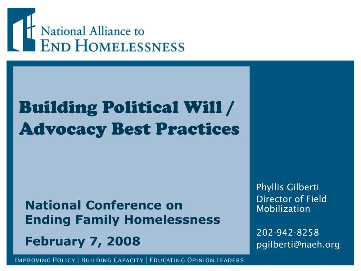building political will advocacy best practices n.