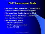 fy 07 improvement goals